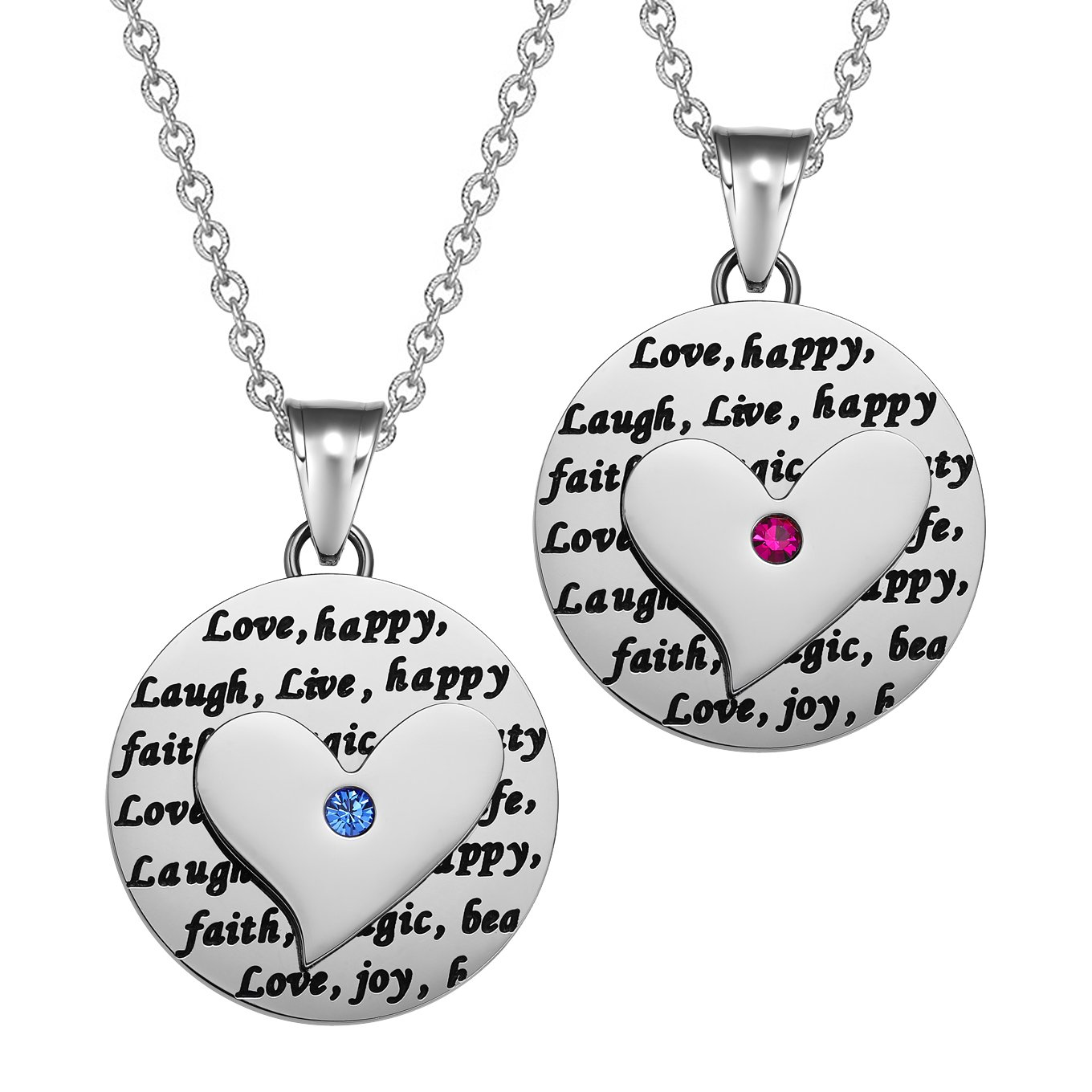 Heart Inspirational Medallions Live Laugh Love Couples or Best Friends Amulet Fuchsia Pink Blue Necklaces