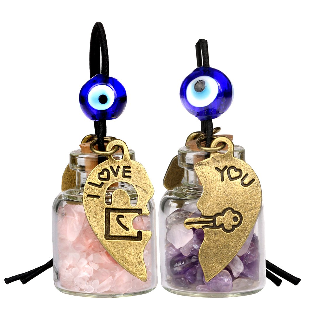 Heart Key Lock Halfs Love Couples Small Car Charms Home Decor Bottles Amethyst Rose Quartz Amulets