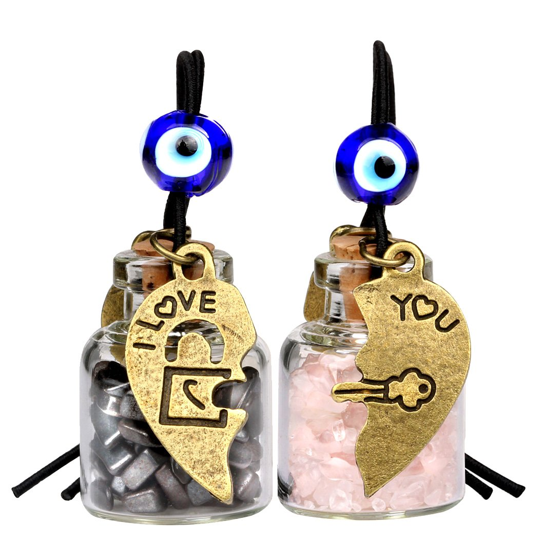 Heart Key Lock Halfs Love Couples Small Car Charms Home Decor Bottles Hematite Rose Quartz Amulets