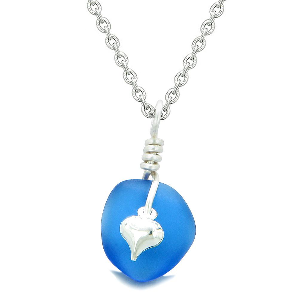 Twisted Twincies Heart Small Frosted Sea Glass Lucky Charms Handcrafted Ocean Blue 22 Inch Necklace