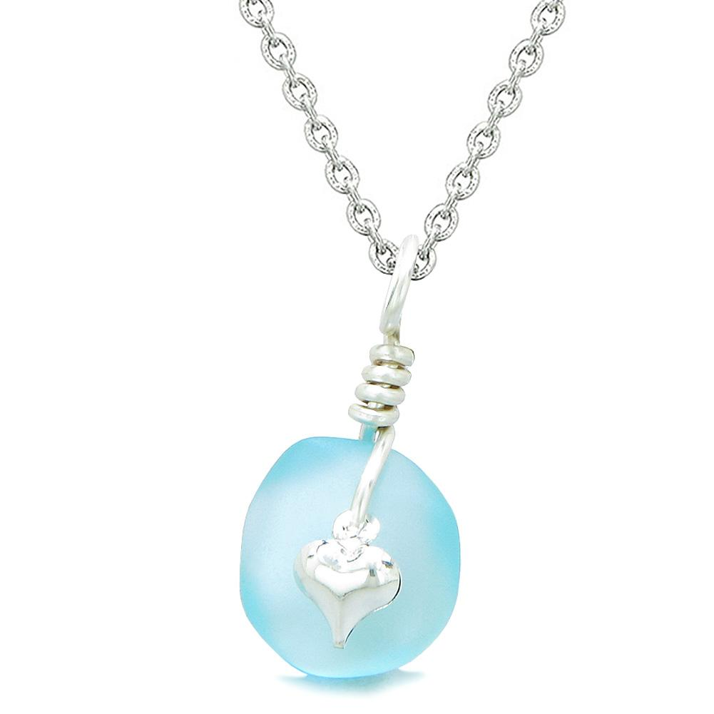 Twisted Twincies Heart Small Frosted Sea Glass Lucky Charms Handcrafted Sky Blue 22 Inch Necklace