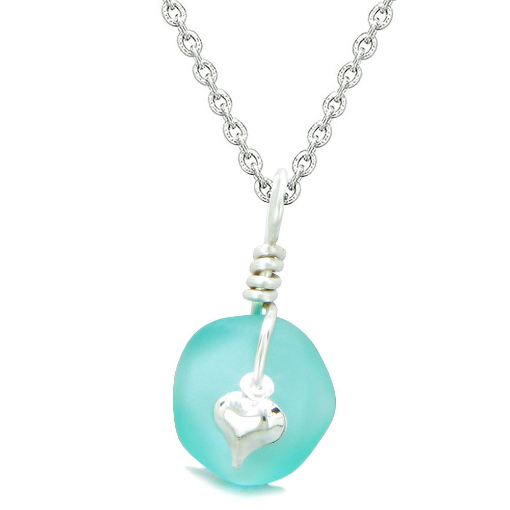 Twisted Twincies Heart Small Frosted Sea Glass Lucky Charms Handcrafted Aqua Blue 22 Inch Necklace