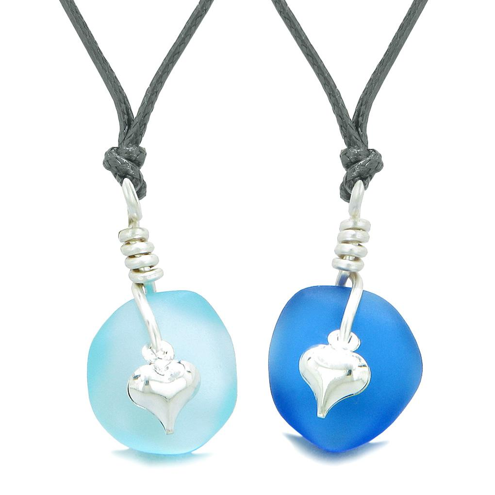 Twisted Twincies Heart Small Sea Glass Lucky Charm Love Couples BFF Set Sky and Ocean Blue Necklaces