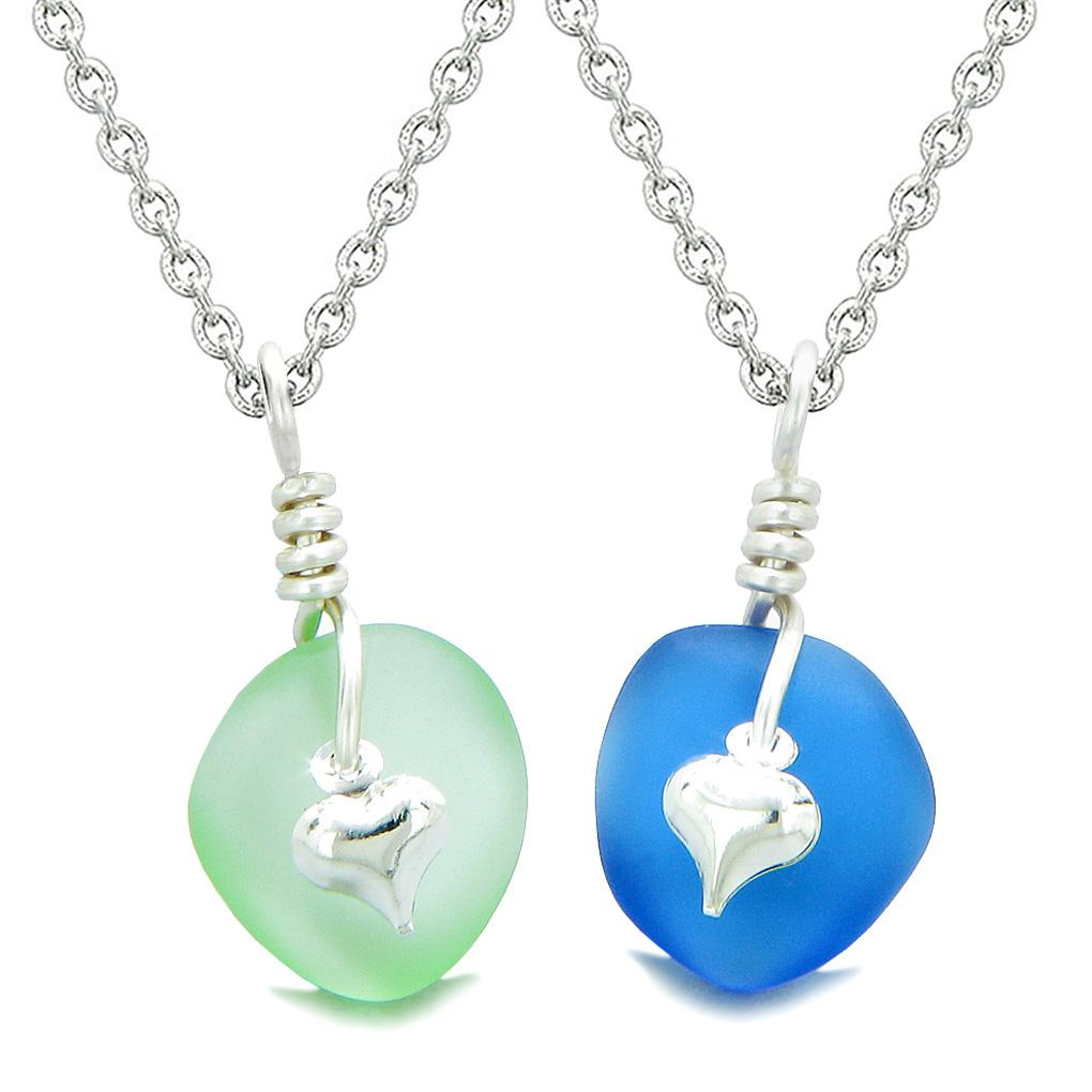Twisted Twincies Heart Small Sea Glass Lucky Charm Love Couples BFF Set Ocean Blue Mint Green Necklaces