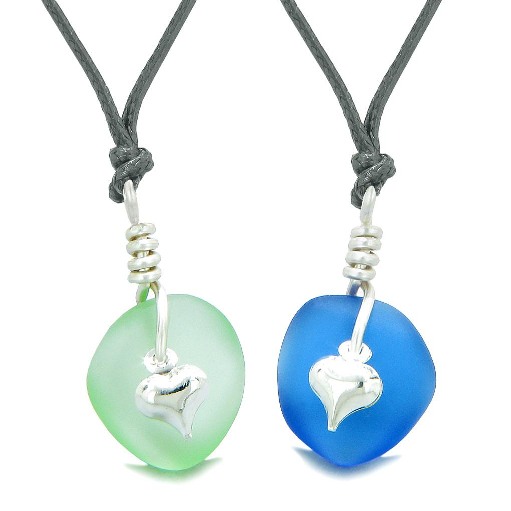 Twisted Twincies Heart Small Sea Glass Lucky Charm Love Couples BFF Set Mint Green Ocean Blue Necklaces