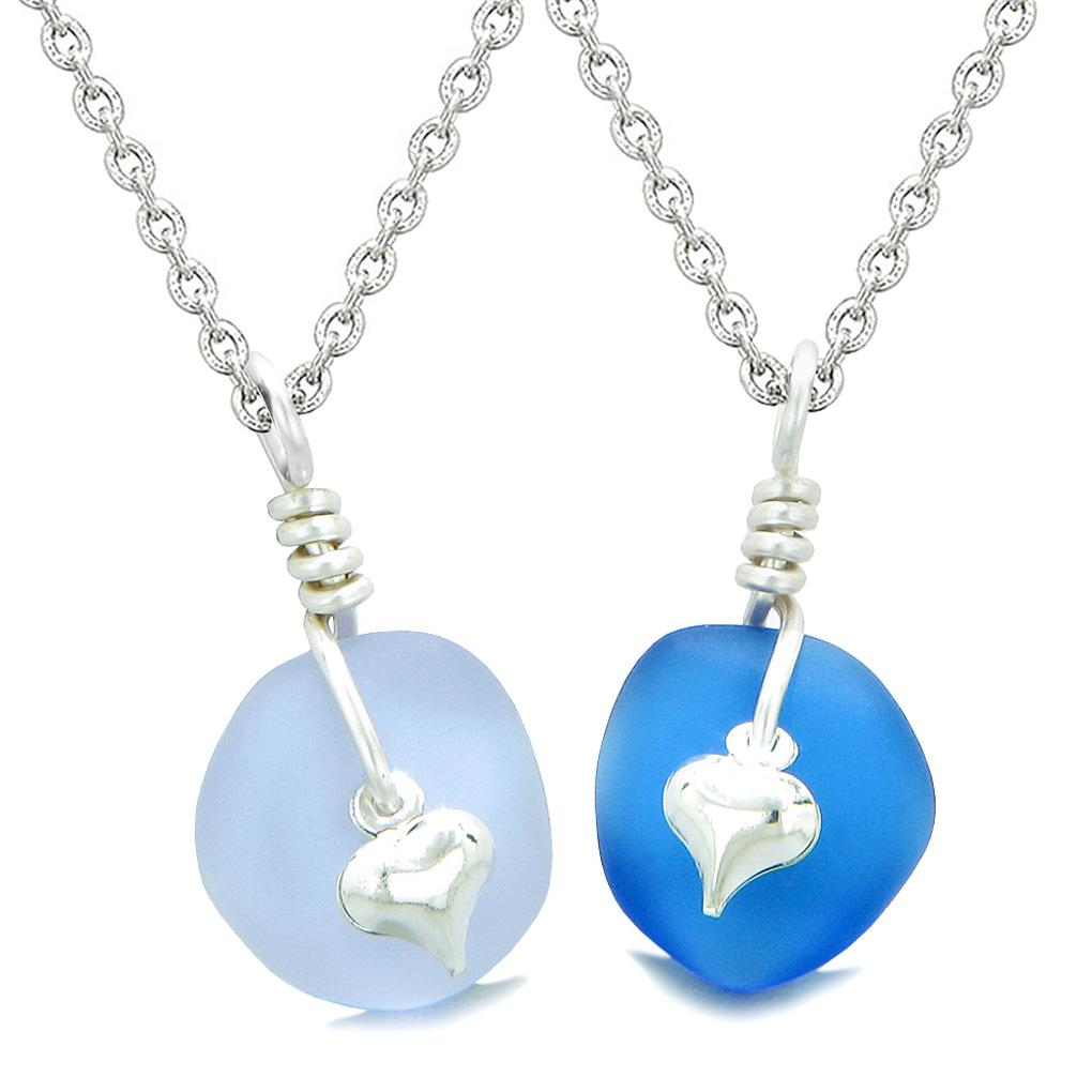 Twisted Twincies Heart Small Sea Glass Lucky Charm Love Couples BFF Set Pastel Purple Ocean Blue Necklaces