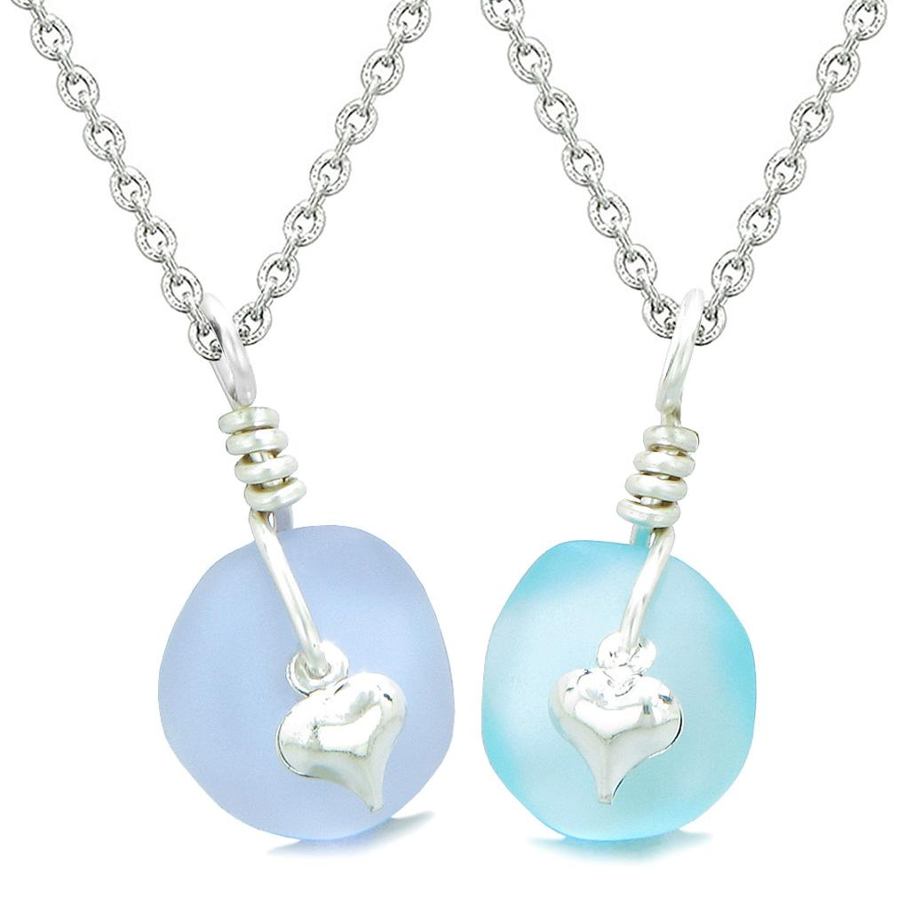 Twisted Twincies Heart Small Sea Glass Lucky Charm Love Couples BFF Set Pastel Purple Sky Blue Necklaces