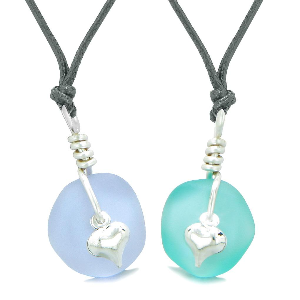 Twisted Twincies Heart Small Sea Glass Lucky Charm Love Couples BFF Set Aqua Blue Pastel Purple Necklaces
