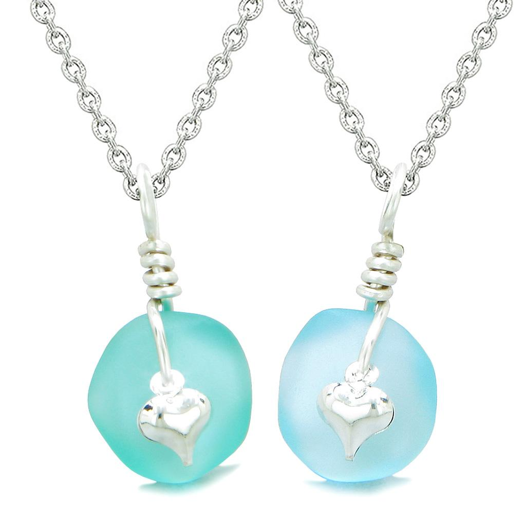 Twisted Twincies Heart Small Sea Glass Lucky Charm Love Couples BFF Set Sky and Aqua Blue Necklaces