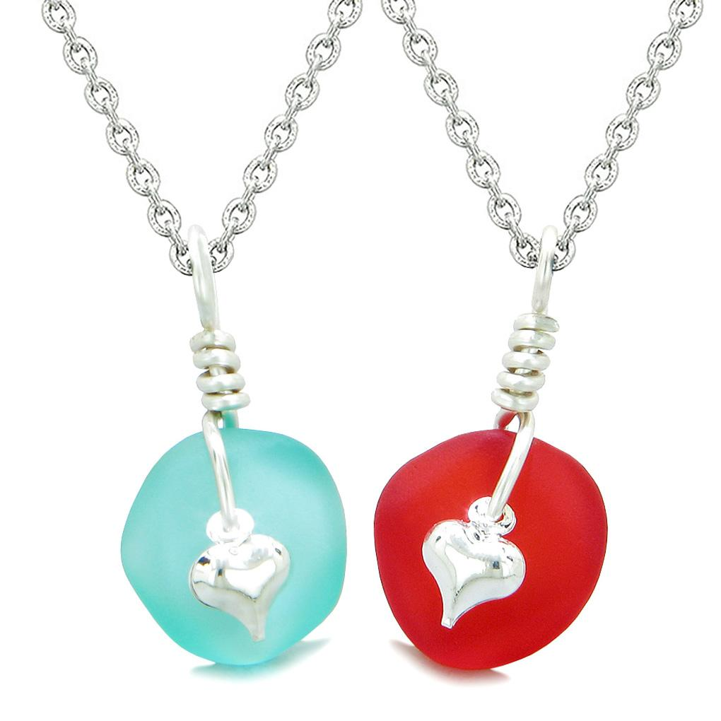 Twisted Twincies Heart Small Sea Glass Lucky Charm Love Couples BFF Set Aqua Blue Royal Red Necklaces