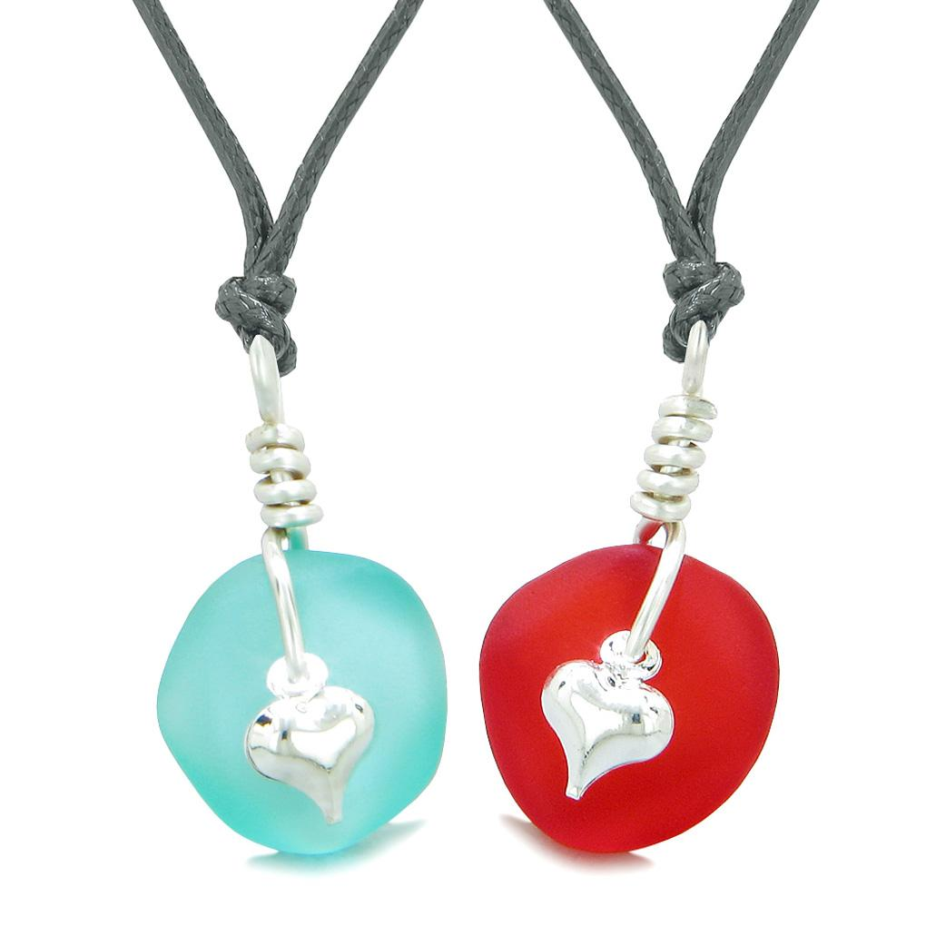 Twisted Twincies Heart Small Sea Glass Lucky Charm Love Couples BFF Set Royal Red Aqua Blue Necklaces