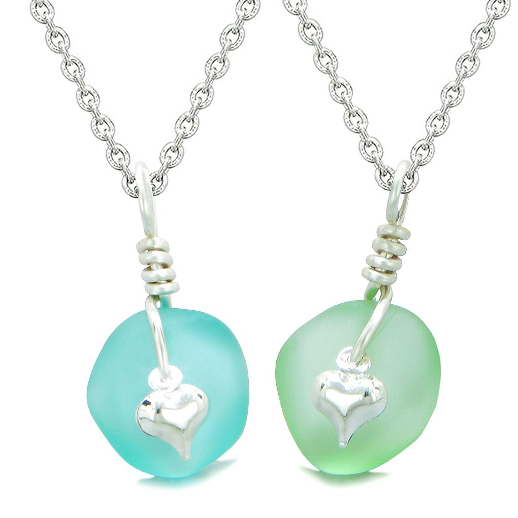 Twisted Twincies Heart Small Sea Glass Lucky Charm Love Couples BFF Set Aqua Blue Mint Green Necklaces