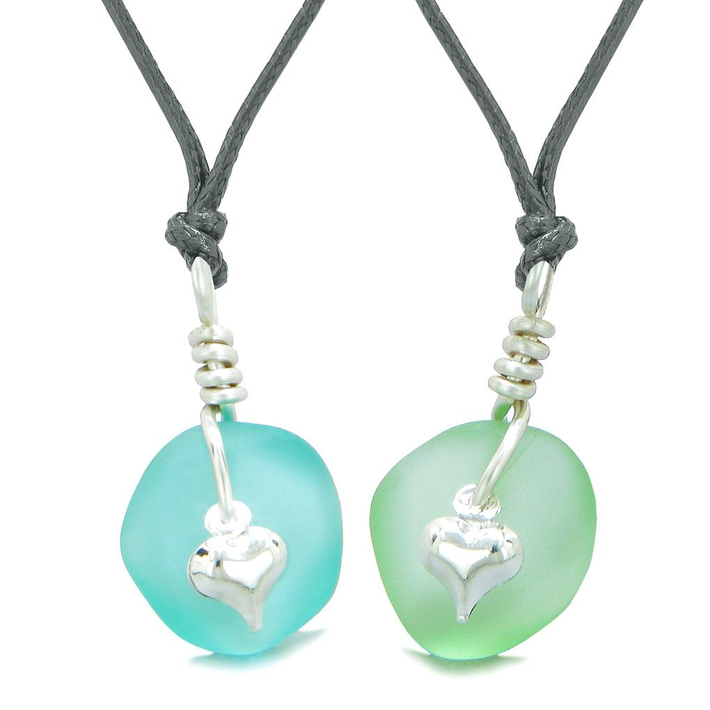 Twisted Twincies Heart Small Sea Glass Lucky Charm Love Couples BFF Set Mint Green Aqua Blue Necklaces