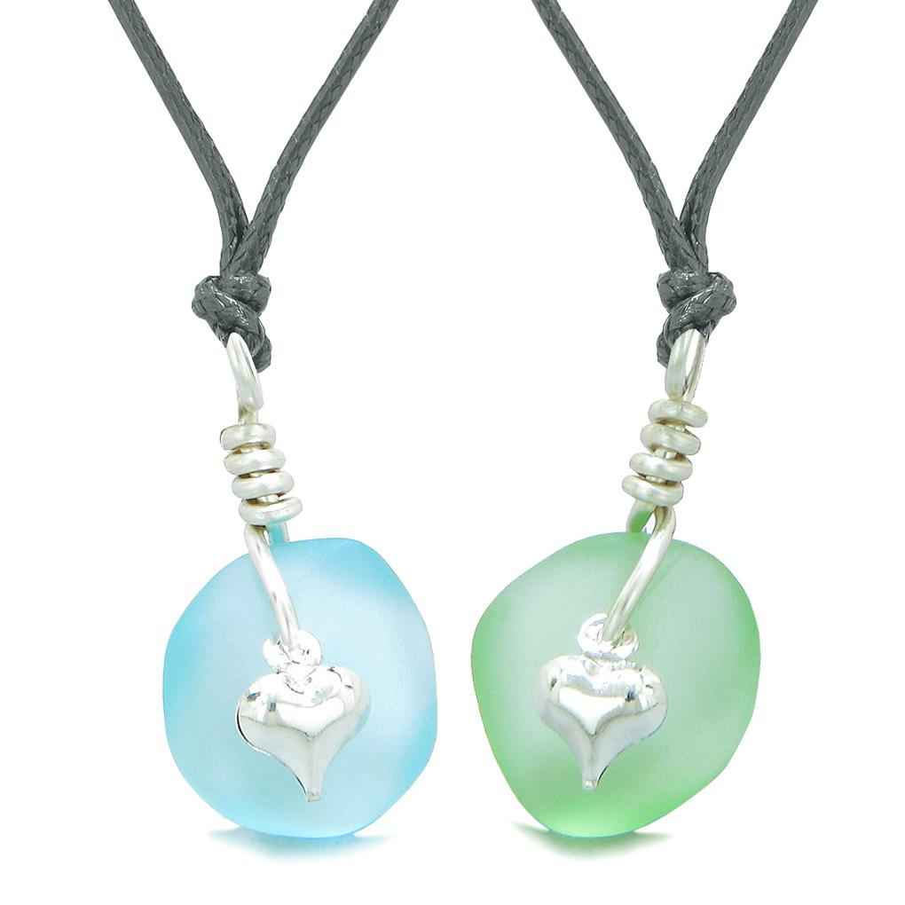 Twisted Twincies Heart Small Sea Glass Lucky Charm Love Couples BFF Set Mint Green Sky Blue Necklaces