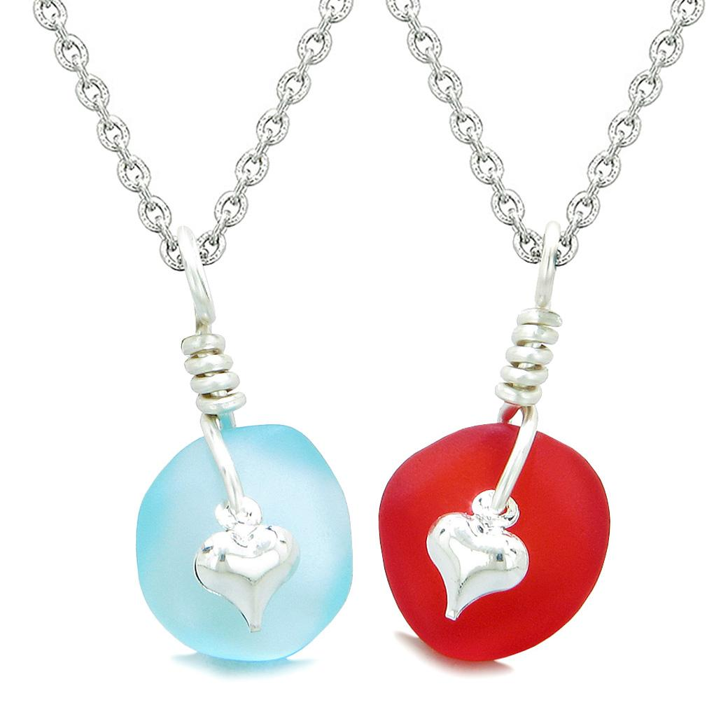 Twisted Twincies Heart Small Sea Glass Lucky Charm Love Couples BFF Set Sky Blue Royal Red Necklaces