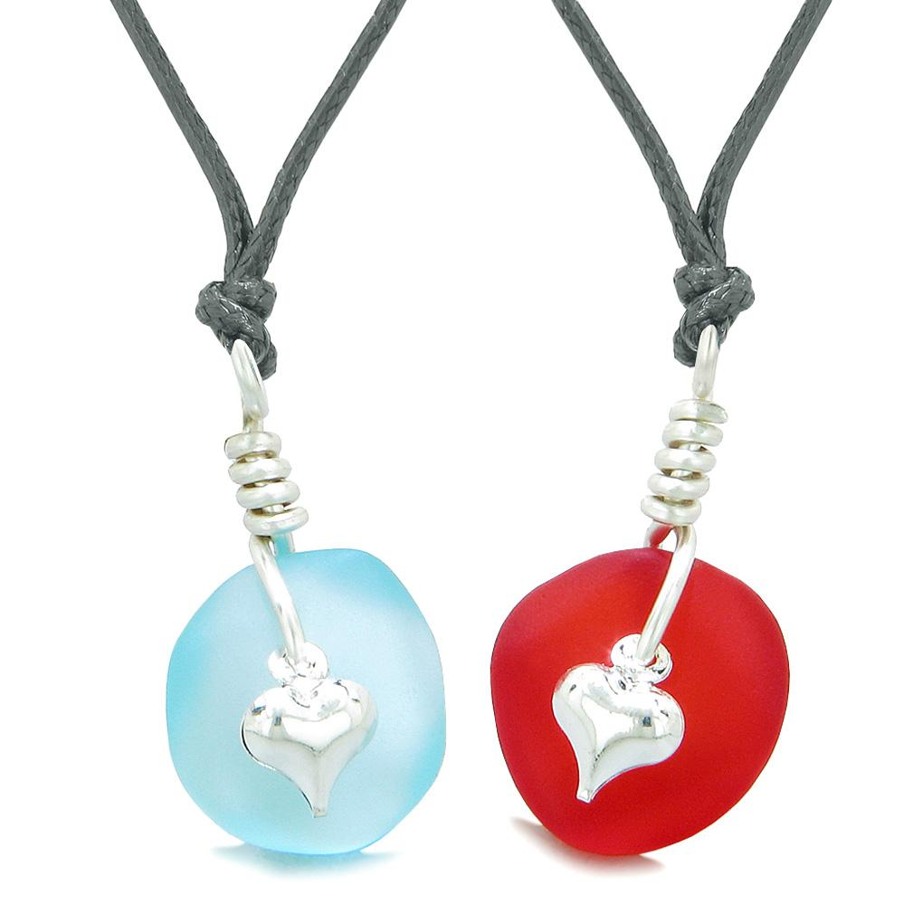 Twisted Twincies Heart Small Sea Glass Lucky Charm Love Couples BFF Set Royal Red Sky Blue Necklaces