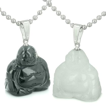 Double Lucky Happy Buddhas Love Couples Best Friends Amulets Positive Energy Onyx Jade Necklaces