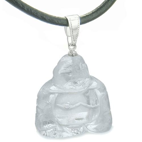 Good Luck Charm Happy Sitting Buddha Amulet Quartz Gemstone Protection Leather Cord Necklace