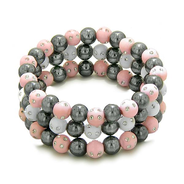 Amulets Set of 3 Individual Simulated Hematite Magnetic Bracelets in WhitePink Sparkling Crystals