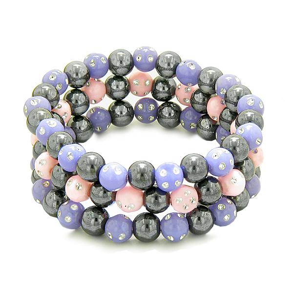 Amulets Set of 3 Individual Simulated Hematite Magnetic Bracelets in Purple Pink Sparkling Crystals