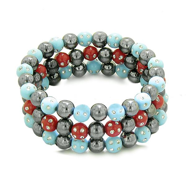 Amulets Set 3 Individual Simulated Hematite Magnetic Bracelets in Sky Blue Red Sparkling Crystals