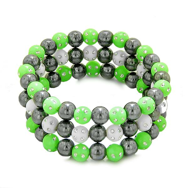 Amulets Set 3 Individual Simulated Hematite Magnetic Bracelets White Green Sparkling Beads Crystals