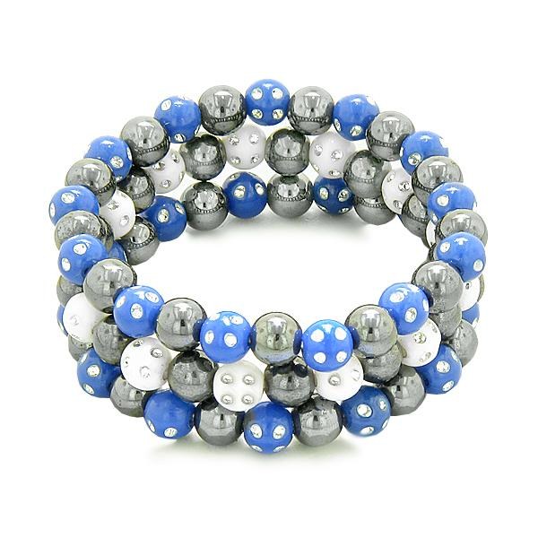 Amulets 3 Individual Simulated Hematite Magnetic Bracelets White Midnight Blue Sparkling Crystals