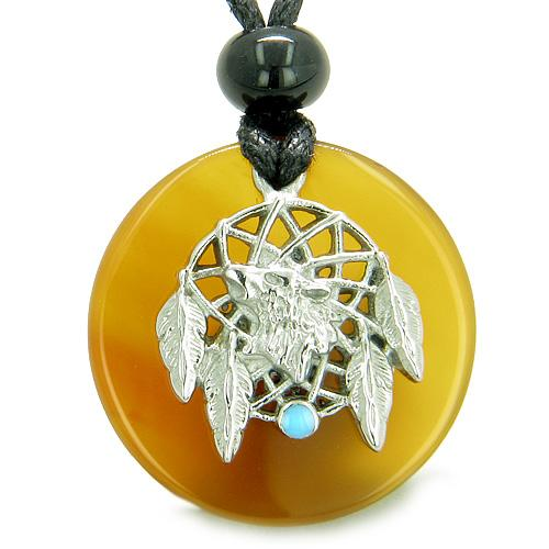 Amulet Howling Wolf Dream Catcher Medallion Magic Carnelian Evil Eye ProtectiPendant Necklace