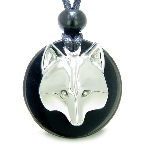 Amulet Courage Wolf Mask Medallion Magic Circle Black Onyx Spiritual ProtectiPendant Necklace