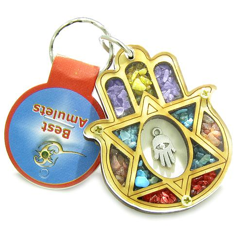 Holy Land Amulet Evil Eye Reflections King Solomon Star Hamsa Blessing Wooden Keychain Lucky Charm