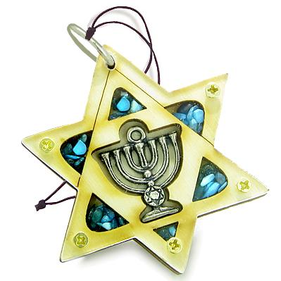 Holy Land Genuine Gemstones Amulet King of Solomon Star Minora Blessing Wooden Lucky Car Charm