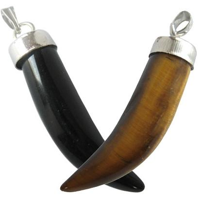 Double Lucky Gemstone Italian Horn Pendants Special
