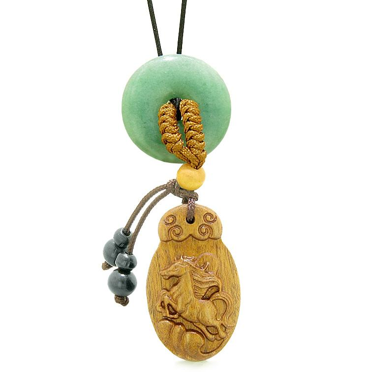 Fortune Horse Magic Car Charm or Home Decor Green Quartz Lucky Coin Donut Protection Powers Amulet