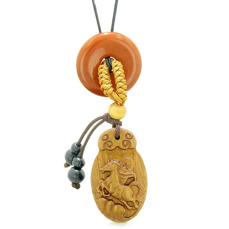 Fortune Horse Magic Car Charm or Home Decor Red Jasper Lucky Coin Donut Protection Powers Amulet