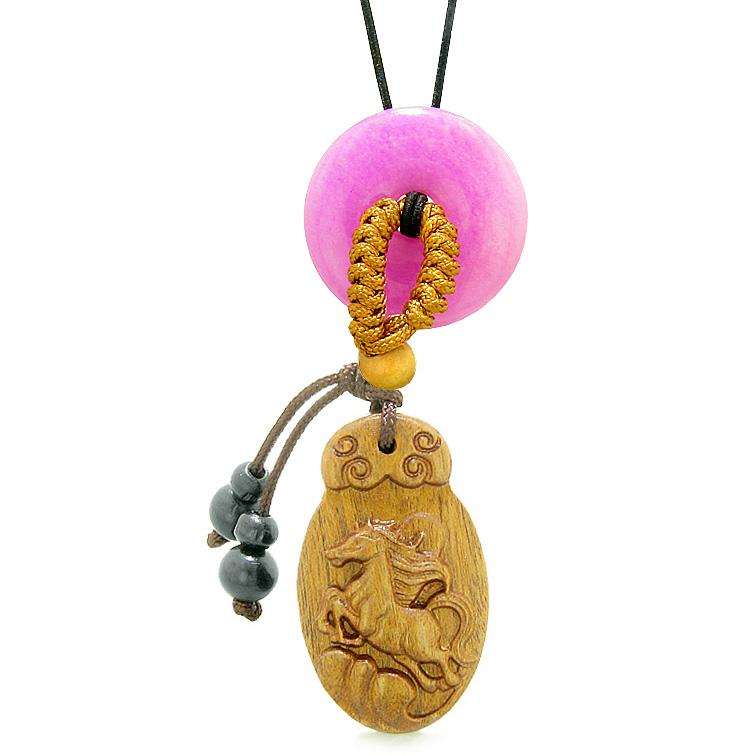 Fortune Horse Magic Car Charm Home Decor Hot Pink Quartz Lucky Coin Donut Protection Powers Amulet
