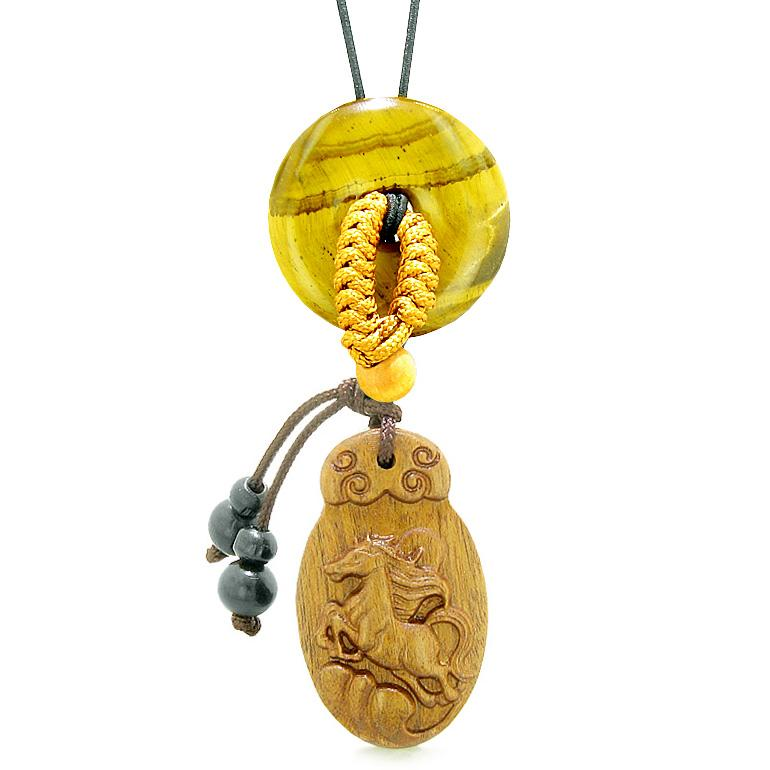 Fortune Horse Magic Car Charm or Home Decor Tiger Eye Lucky Coin Donut Protection Powers Amulet