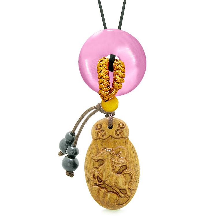 Fortune Horse Magic Car Charm Home Decor Pink Simulated Cats Eye Lucky Coin Donut Protection Amulet