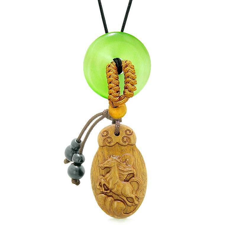 Fortune Horse Magic Car Charm Home Decor Green Simulated Cats Eye Lucky Coin Donut Amulet