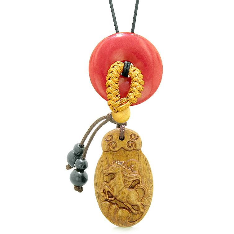 Fortune Horse Magic Car Charm Home Decor Cherry Red Quartz Lucky Coin Donut Protection Amulet