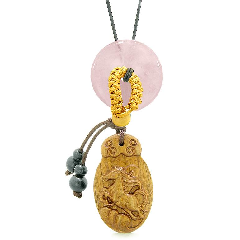 Fortune Horse Magic Car Charm or Home Decor Rose Quartz Lucky Coin Donut Protection Powers Amulet