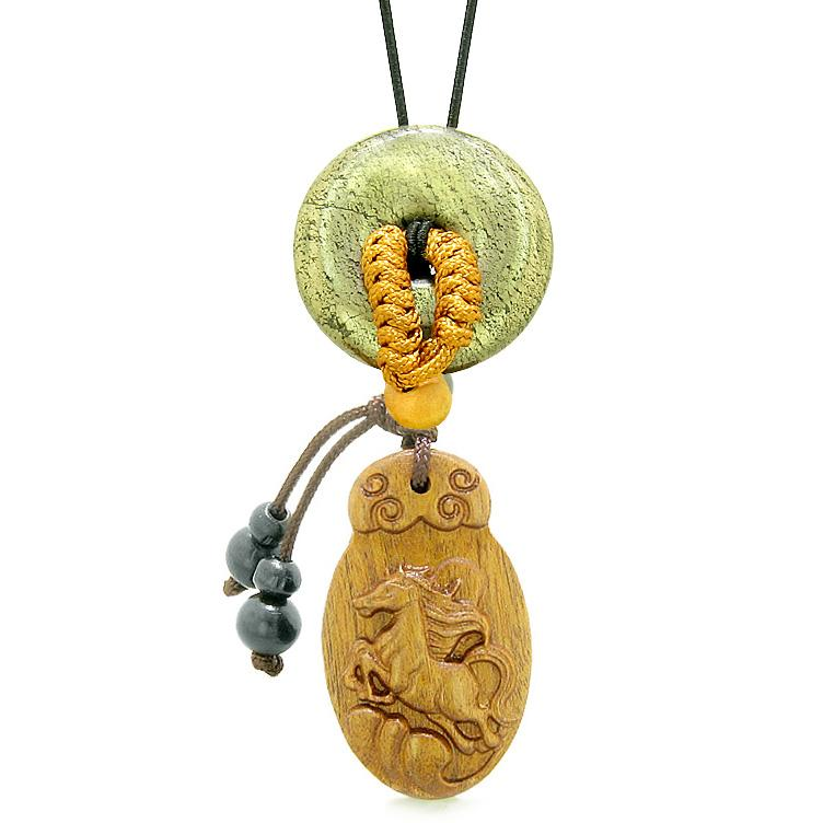 Fortune Horse Magic Car Charm Home Decor Golden Pyrite IrLucky Coin Donut Protection Powers Amulet