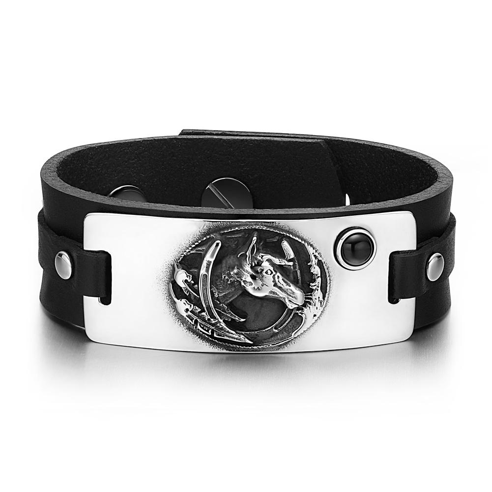 Brave Mustang Lucky Horse Shoe Amulet Tag Simulated Black Onyx Black Leather Bracelet