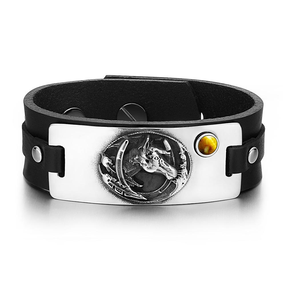 Brave Mustang and Lucky Horse Shoe Amulet Tag Tiger Eye Gemstone Adjustable Black Leather Bracelet