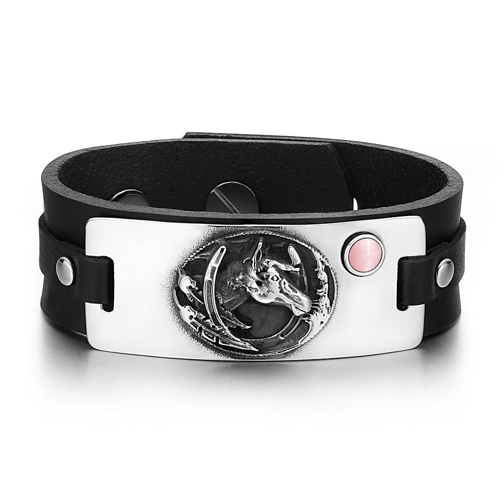 Brave Mustang Lucky Horse Shoe Amulet Tag Pink Simulated Cats Eye Adjustable Black Leather Bracelet