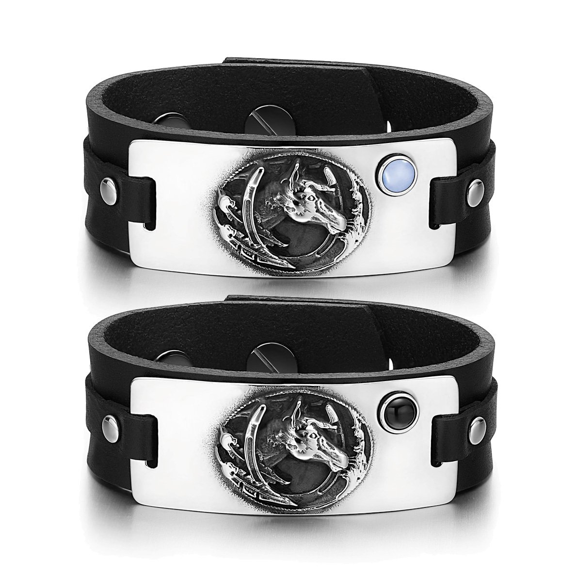 Mustang Lucky Horse Shoe Love Couples Blue Simulated Cat Eye Simulated Onyx Black Leather Bracelets