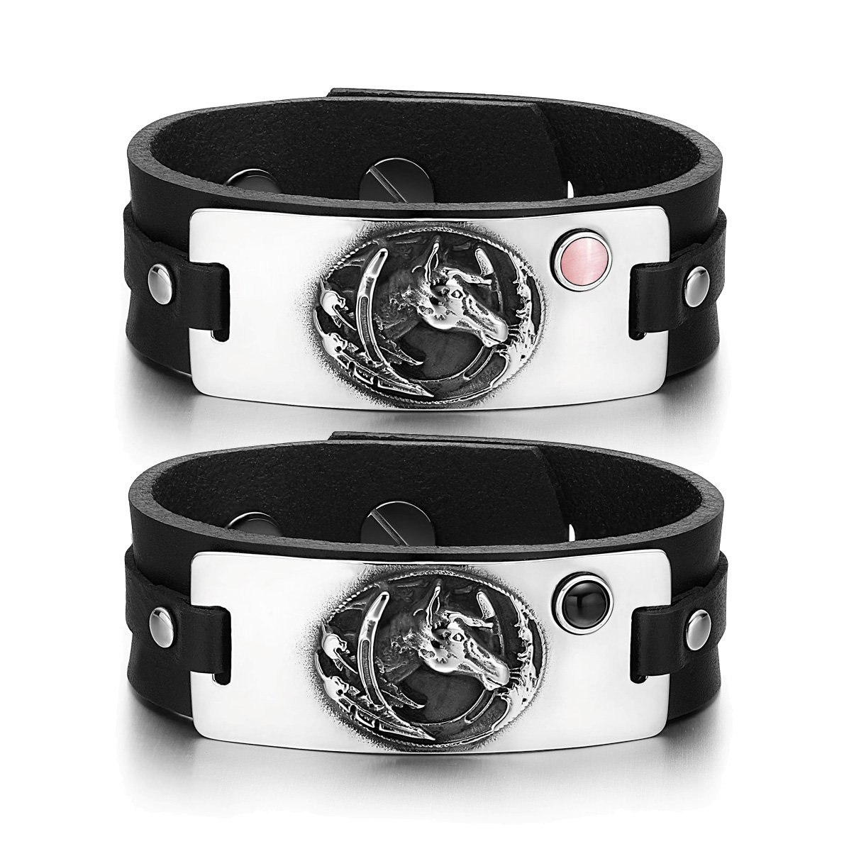 Mustang Lucky Horse Shoe Love Couples Pink Simulated Cat Eye Simulated Onyx Black Leather Bracelets