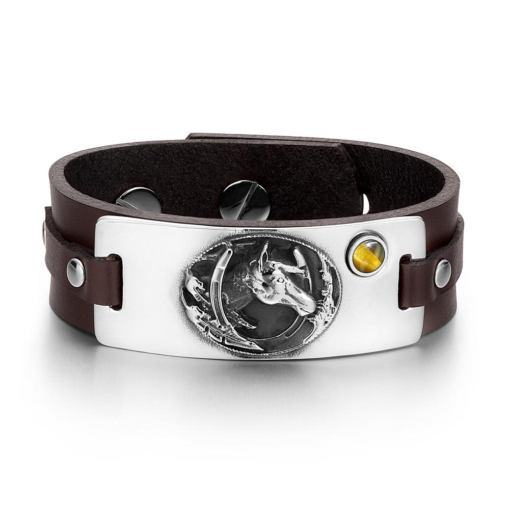 Brave Mustang Lucky Horse Shoe Amulet Tag Tiger Eye Gemstone Dark Brown Leather Bracelet