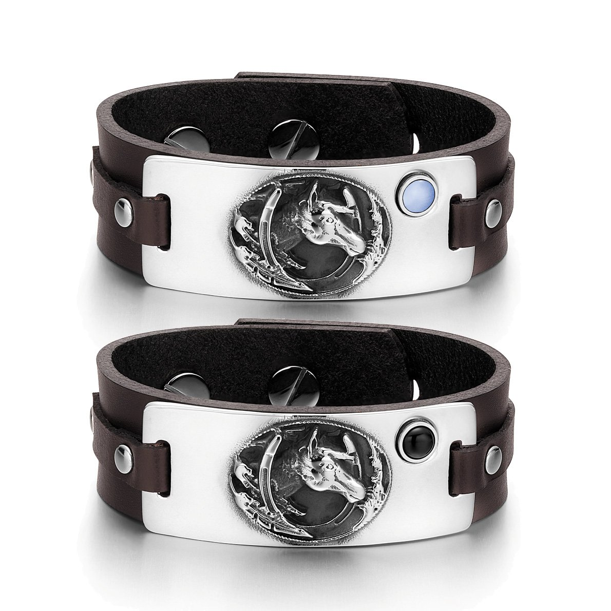 Mustang Lucky Horse Shoe Love Couples Blue Simulated Cat Eye Simulated Onyx Brown Leather Bracelets