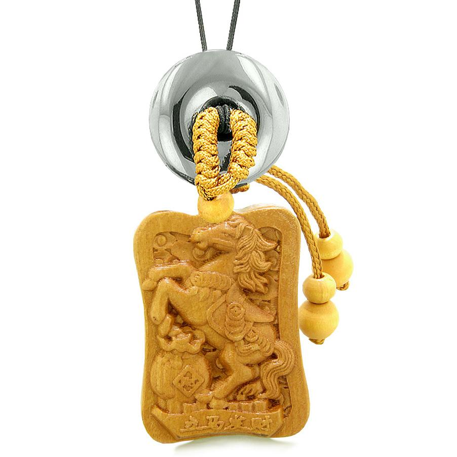 Fortune Horse Money Bag Lucky Coin Car Charm or Home Decor Hematite Donut Protection Powers Amulet