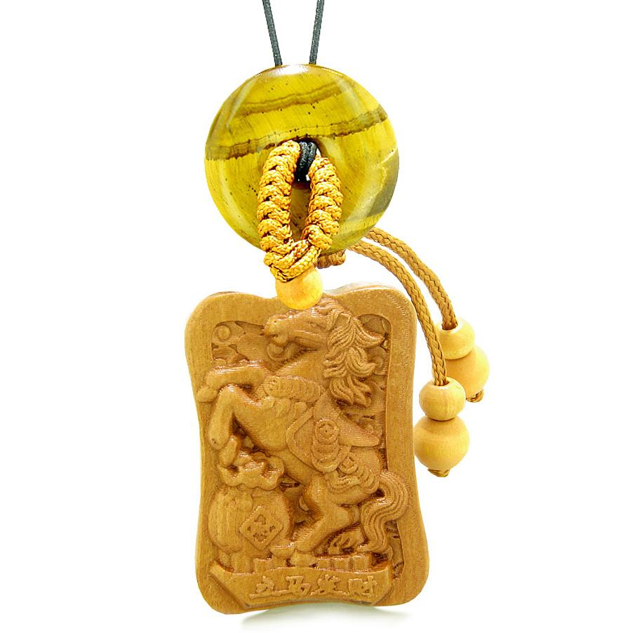 Fortune Horse Money Bag Lucky Coin Car Charm or Home Decor Tiger Eye Donut Protection Powers Amulet